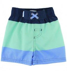 RuffleButts/RuggedButts Blue Color Block Swim Trunks