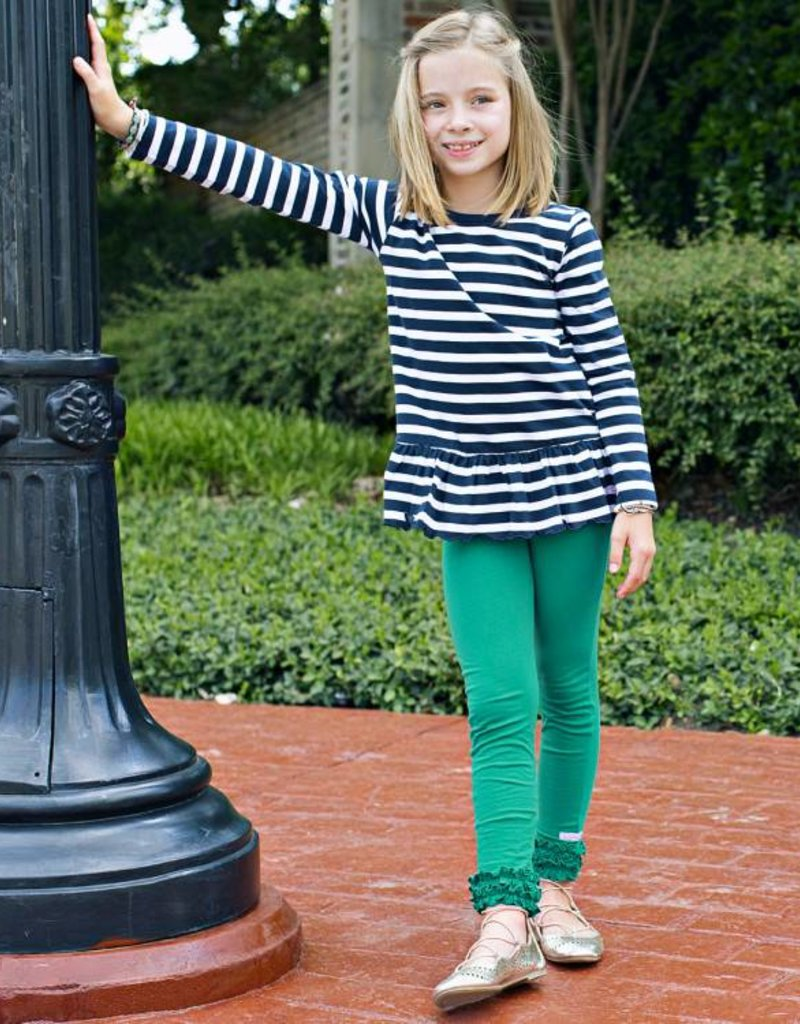 RuffleButts/RuggedButts Rufflebutts Navy & White Stripe Peplum Top