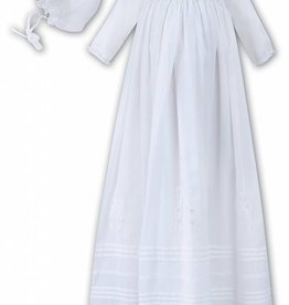 Sarah Louise Christening Robe & Bonnet- Voile, Embroidered