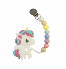 LouLou Lollipop Rainbow Unicorn Teether and Holder Set