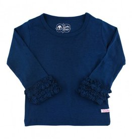 RuffleButts Navy Ruffled Long Sleeve Layering Tee
