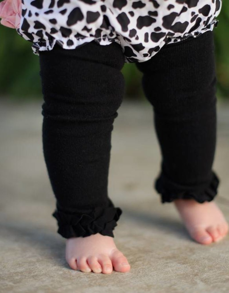 RuffleButts Black Footless Ruffle Tights