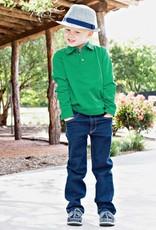 RuffleButts Rufflebutts emerald Long Sleeve Polo