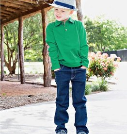 RuffleButts Rufflebutts Emerald Long Sleeve Polo