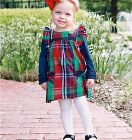 RuffleButts Kennedy Plaid Jumper Dress