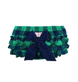 RuffleButts Rufflebutts Navy & Emerald Buffalo Plaid Ruffle Butt