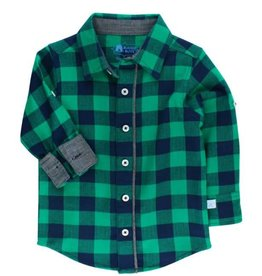 RuffleButts Rufflebutts Navy & Emerald Buffalo Plaid Button Down