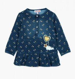 Boboli Boboli Fleece denim dress and stocking set