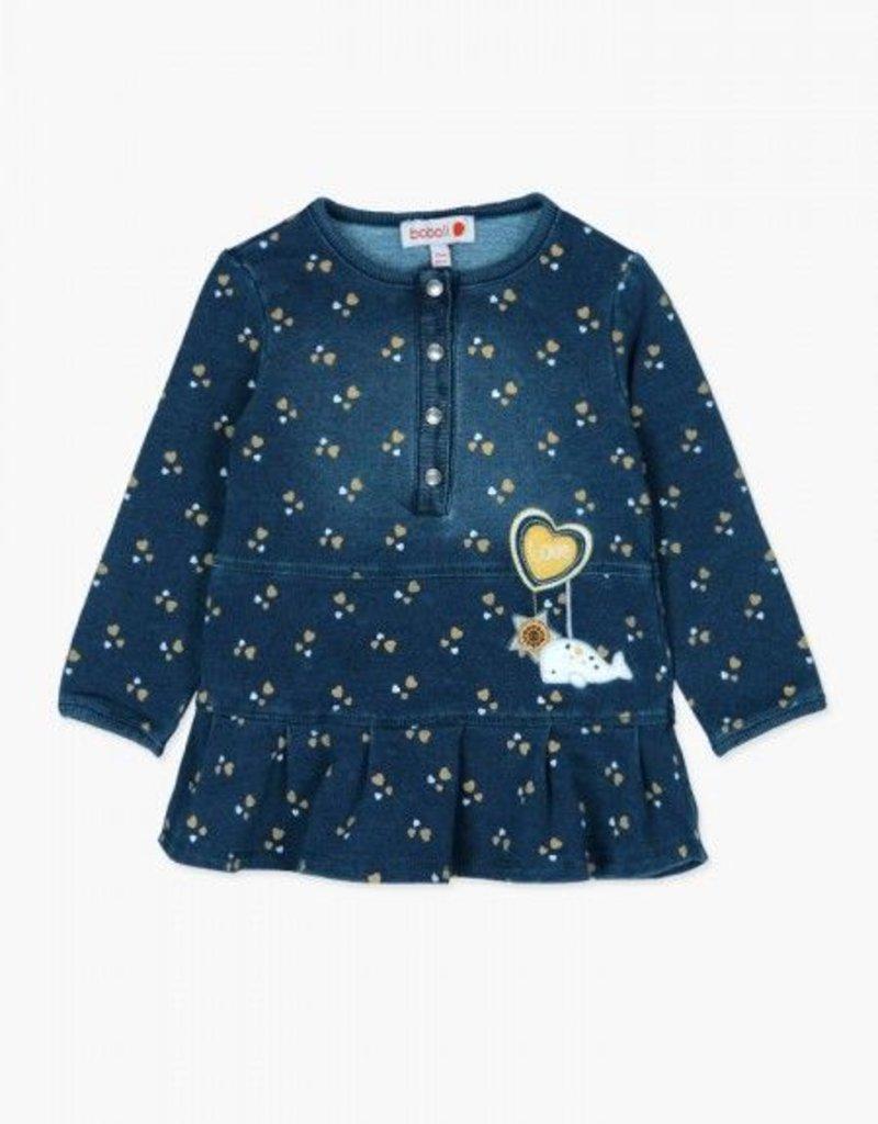 Boboli Boboli Fleece denim dress and stocking set