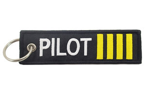 Mr. Pilot Aviation Shop Key Chain: Pilot Embroidered 4 Stripe