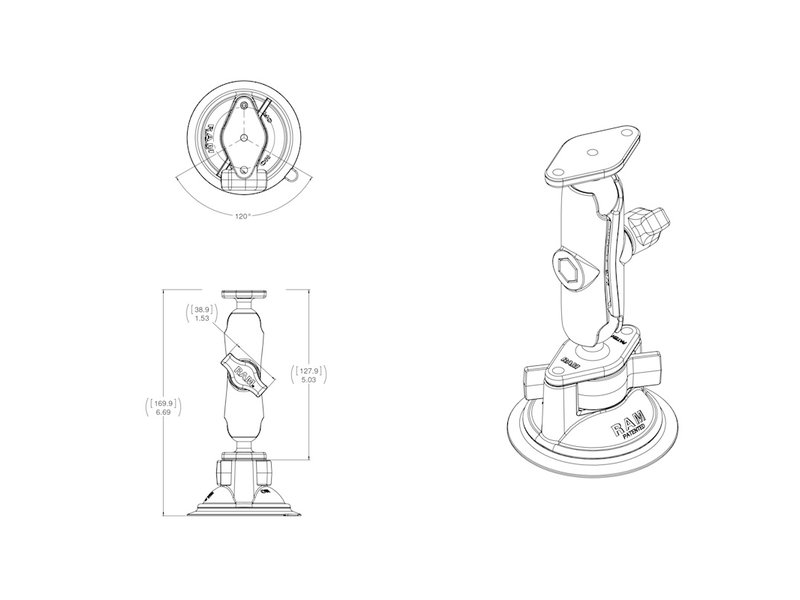 RAM Suction Cup Mount with Adapters