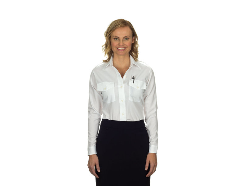 Phillips Van-Heusen Corp Shirt: Aviator LS Ladies, Wht, 4