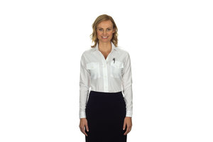 Phillips Van-Heusen Corp Shirt: Aviator LS Ladies, Wht, 6