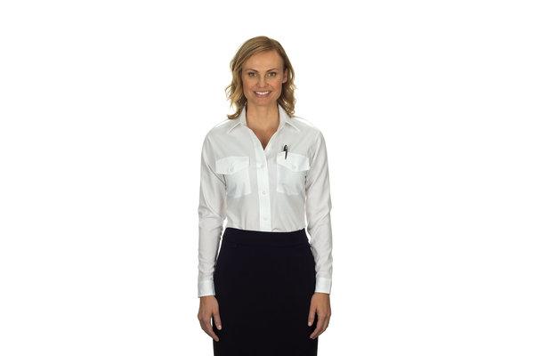 Phillips Van-Heusen Corp Shirt: Aviator LS Ladies, Wht, 6