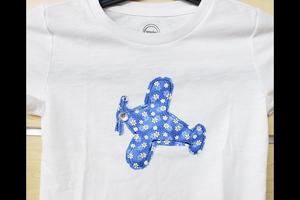T-Shirt: Flower airplane wht XS 4-5