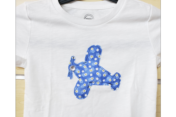 T-Shirt: Flower airplane wht 6