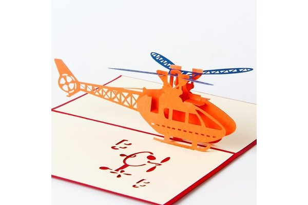 Helicopter 3D Card Red