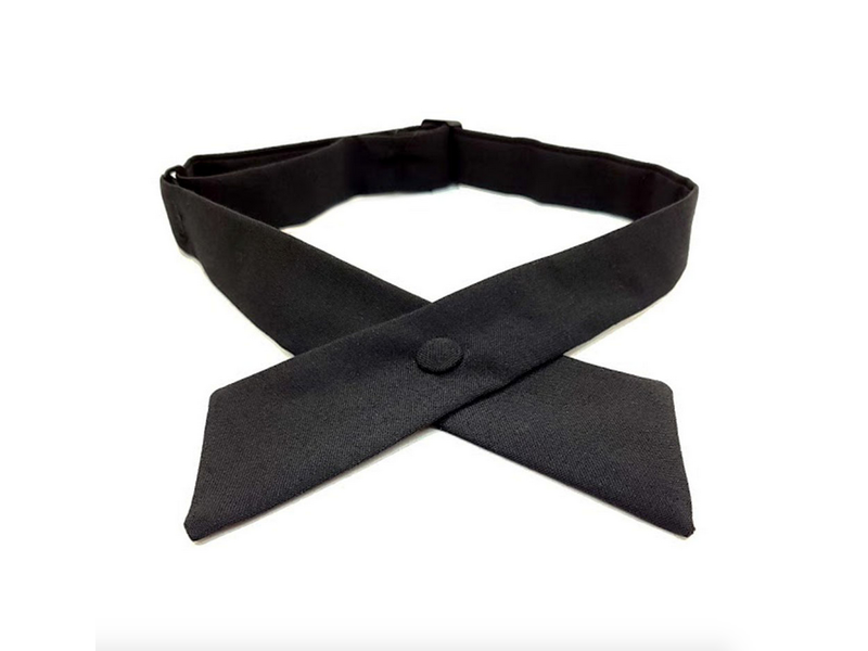 Tie: Crossover w/ Button, Blk