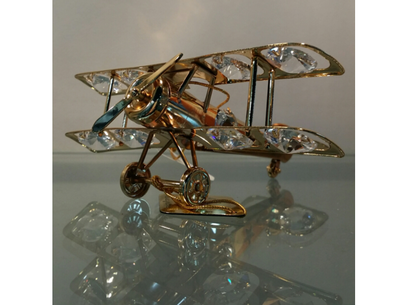 Crystal Airplane Ornament Gold