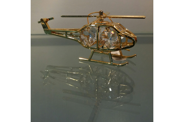 Crystal Helicopter Ornament Gold