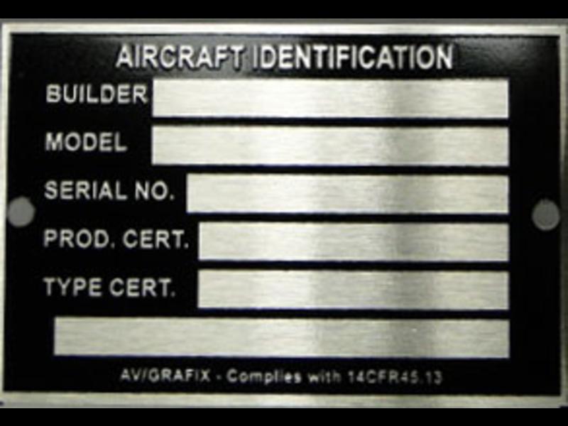 Aircraft ID Tag Placard