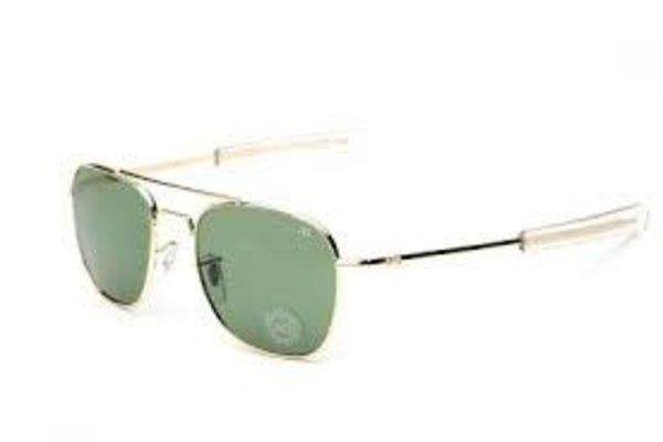 AO Eyewear, Inc. AO: Original Pilot Gold Frame, Banyonet, Green Lens, 52