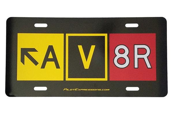 AV8R Taxiway Sign Aluminum License Plate