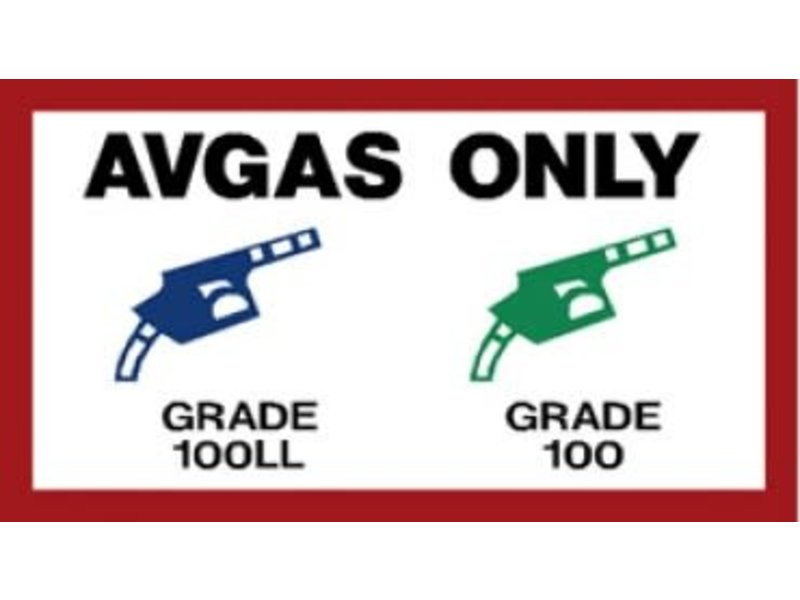 AVGAS ONLY FUEL PLACARD