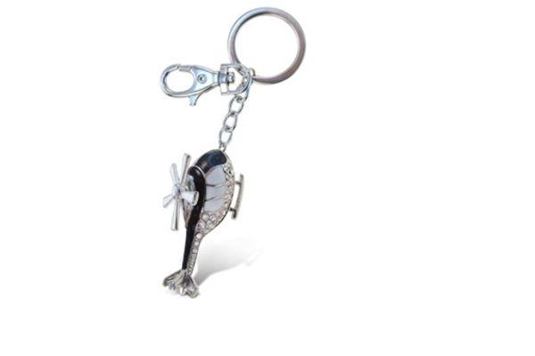 Blk Rhinestone Helicopter Keychain