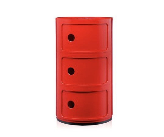 Kartell Kartell Componibili 3 Drawer Tower in Red