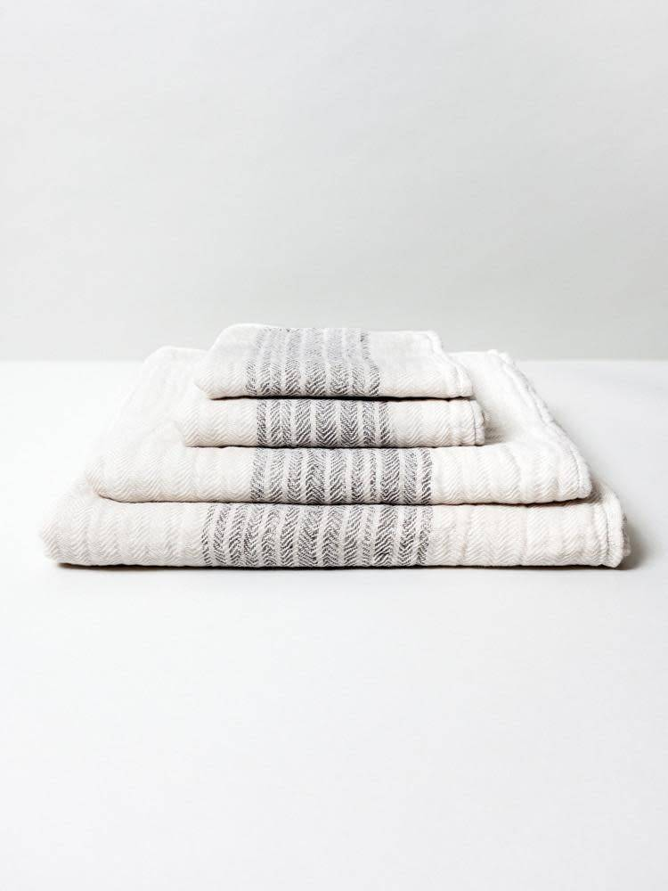 Morihata Dual Faced Striped Bath Towel in Brown/Beige