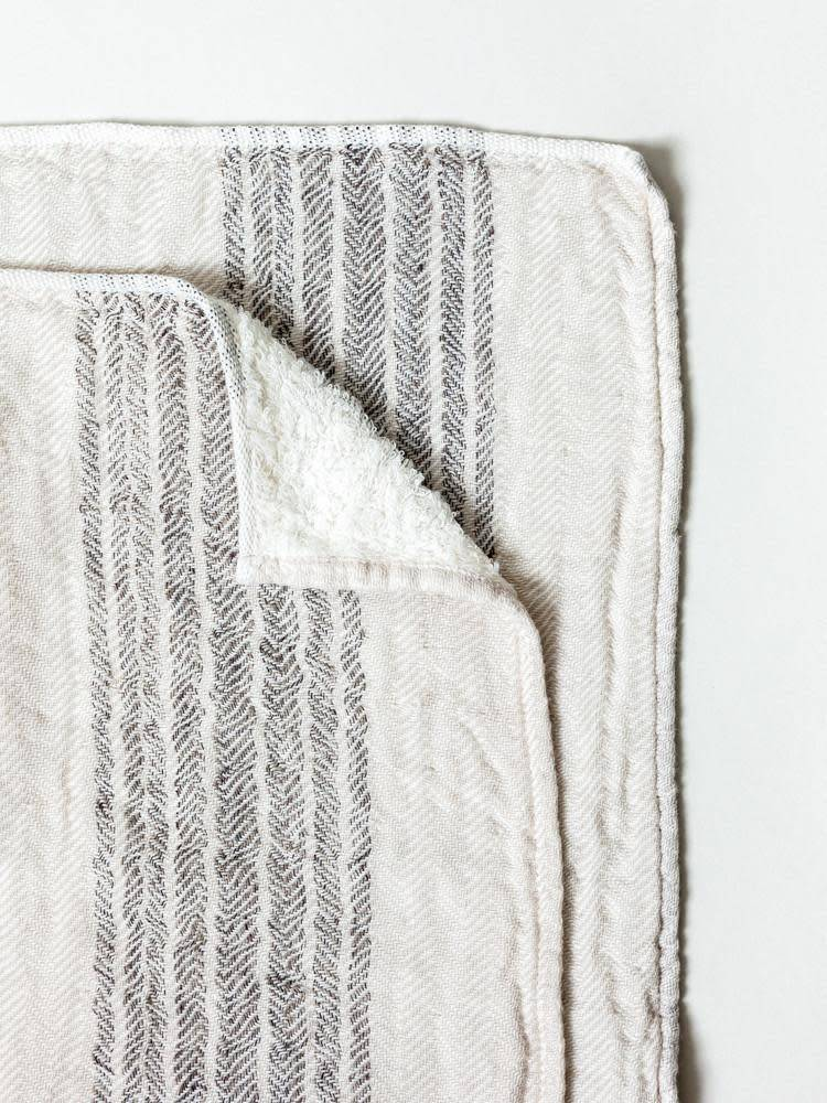 Morihata Dual Face Striped Hand Towel in Brown/Beige
