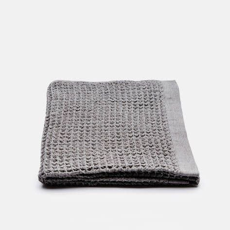 Morihata Lattice Linen Hand Towel: Grey