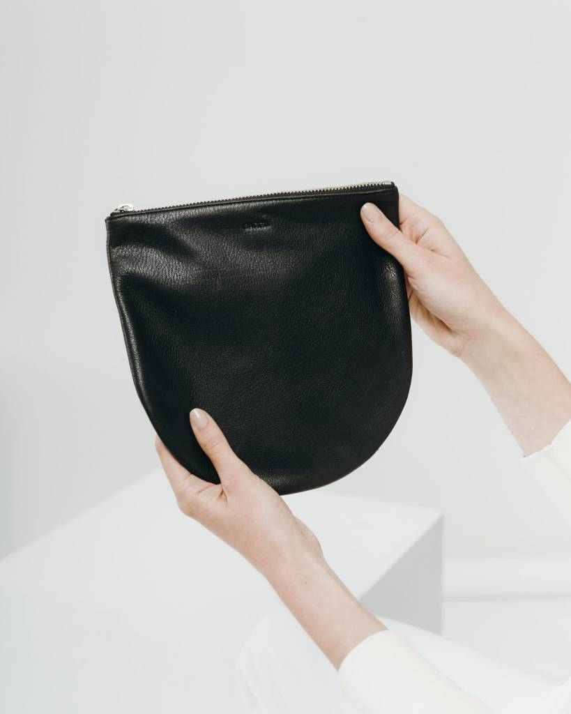 Baggu Black Leather Zip Pouch Large