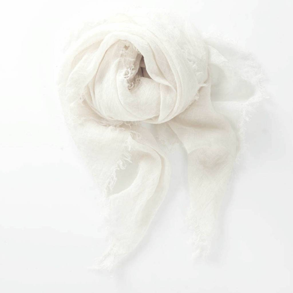 Linen Scarf in WInter White