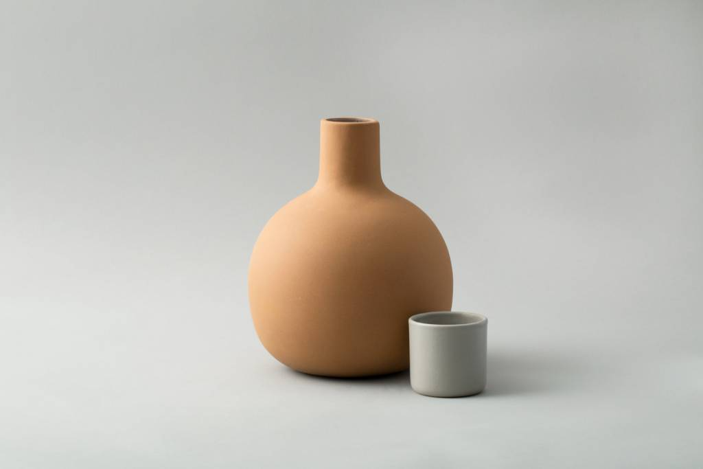 Lagos Del Mundo Terracotta Pitcher with Grey Ceramic Cup