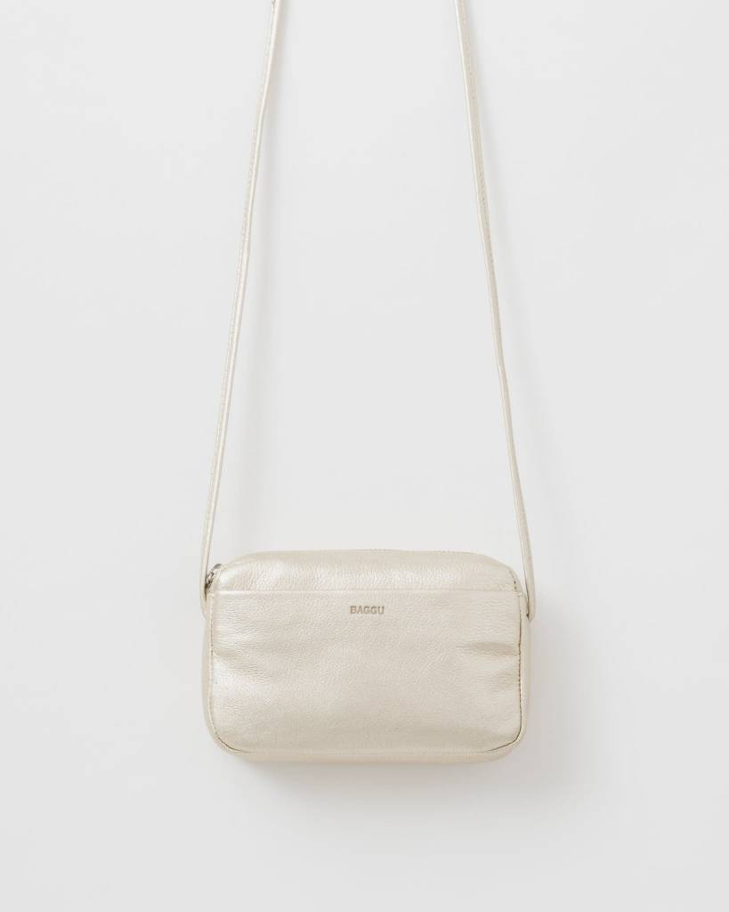 Baggu Leather Mini Purse: Platinum