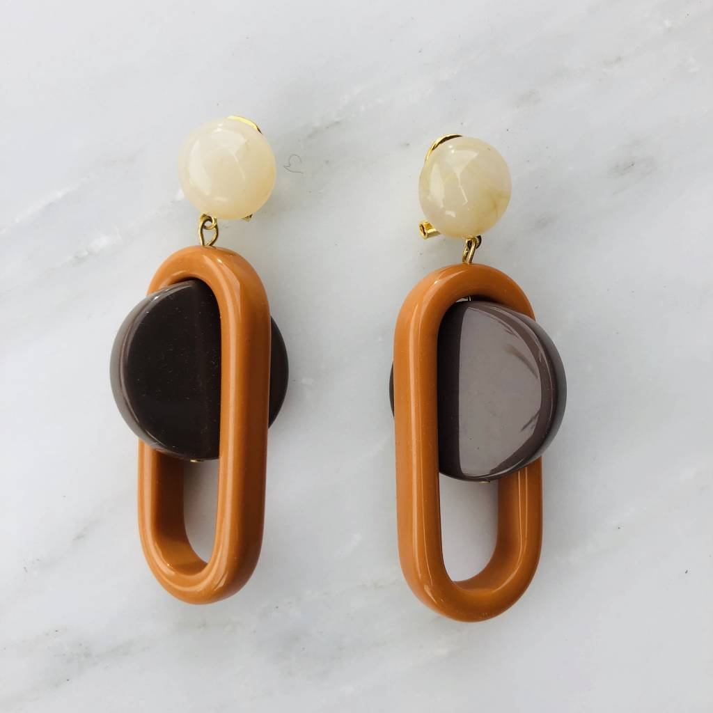 Rachel Comey Rachel Comey Lohr Earrings: Orange-Taupe