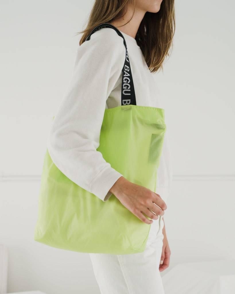 Baggu Ripstop Zip Tote in Neon Lime