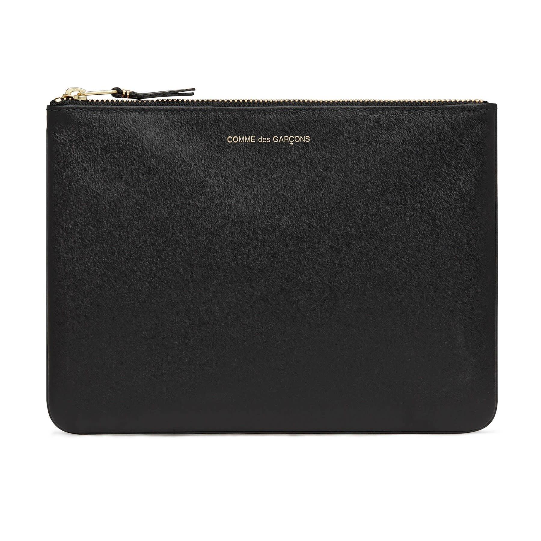 COMME des GARÇONS Wallet  Large Zip Pouch in Black Leather SA5100