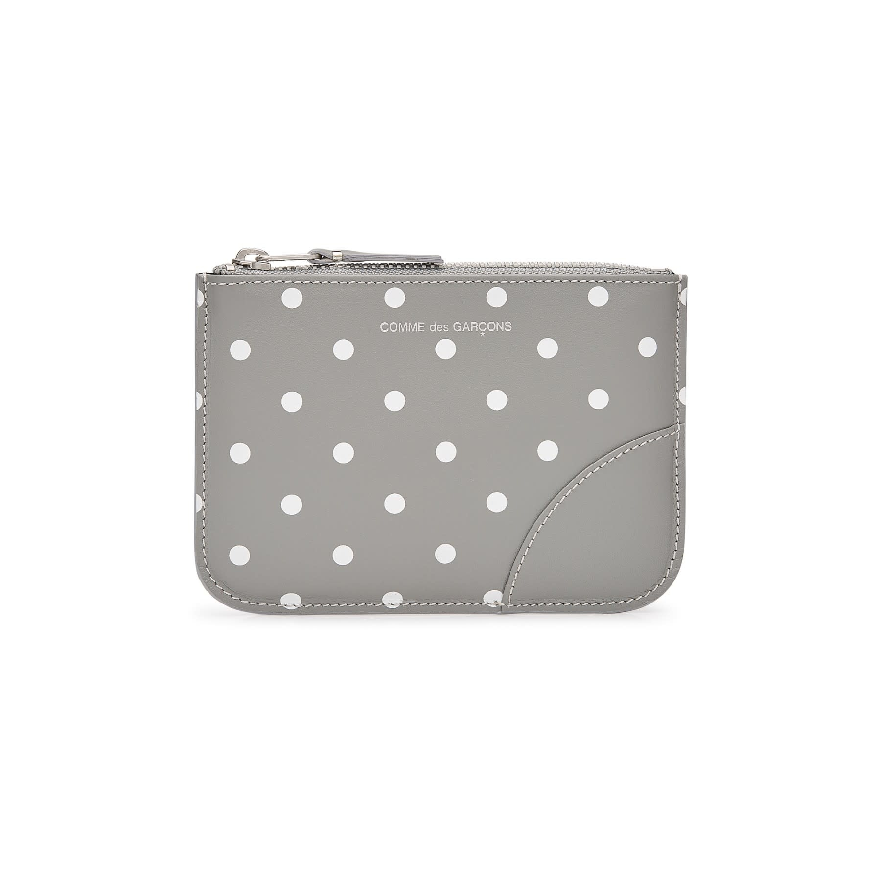 COMME des GARÇONS WALLET Small Zip Pouch in Grey Polka Dot  SA8100PD
