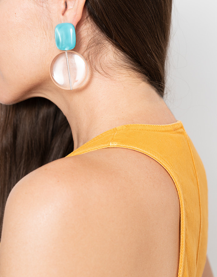 Rachel Comey Rachel Comey Arc Earrings in Aqua and Clear