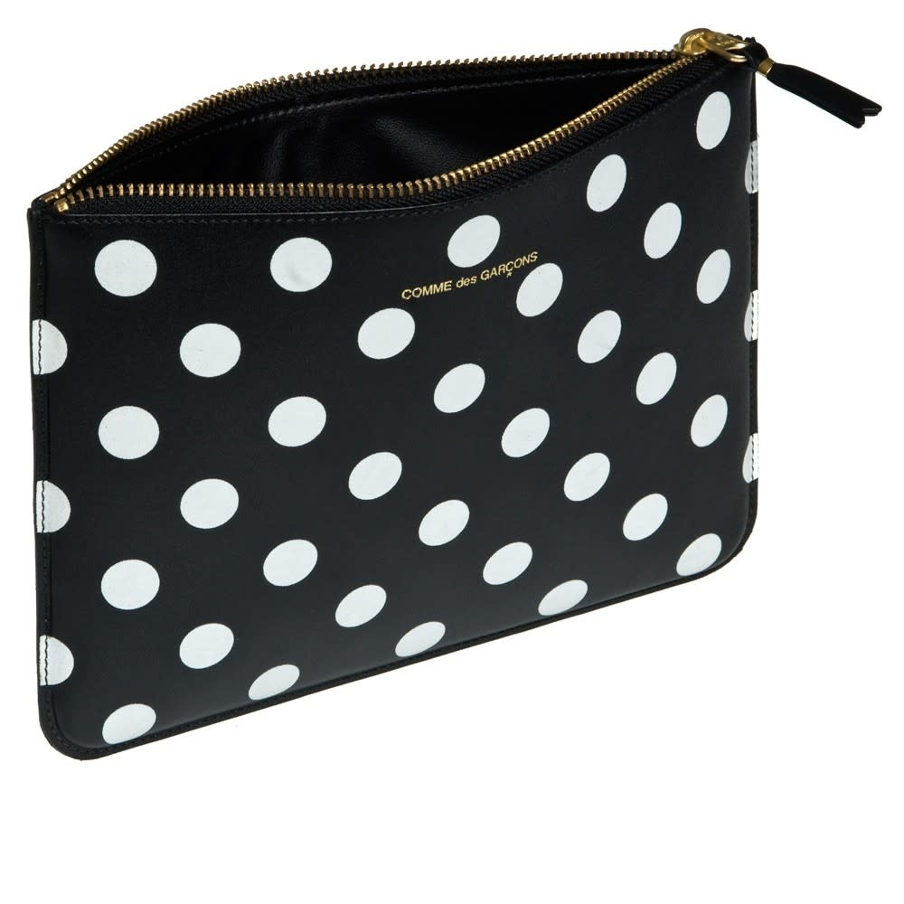 COMME des GARÇONS Wallet LARGE ZIP POUCH IN BLACK/White Polka Dot LEATHER SA5100