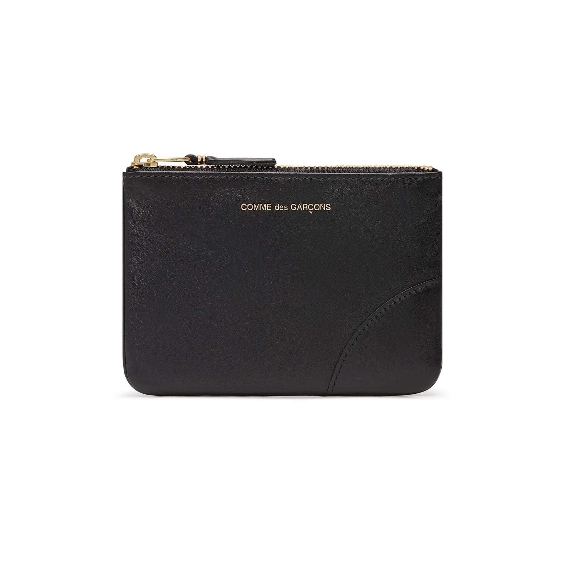 COMME des GARÇONS Wallet SMALL Leather ZIP POUCH Black SA8100