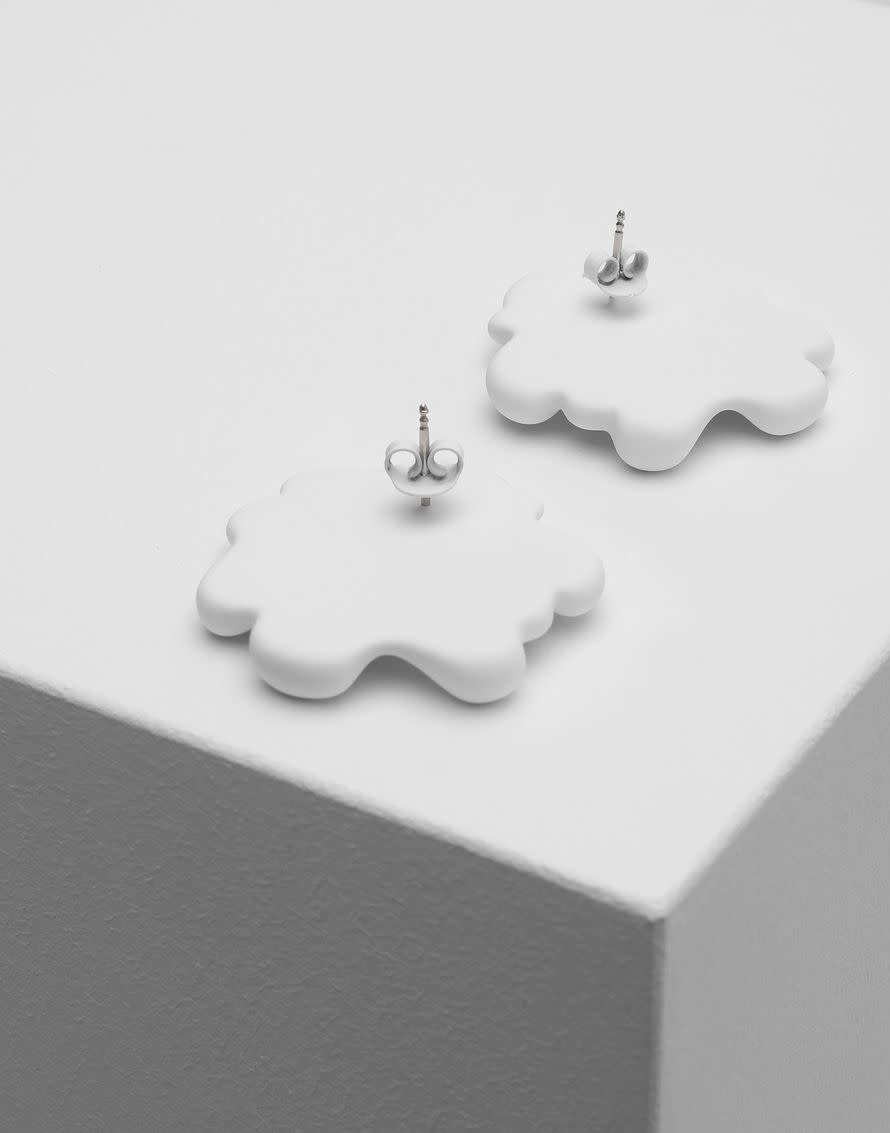 MM6 MAISON MARGIELA Logo Earrings White
