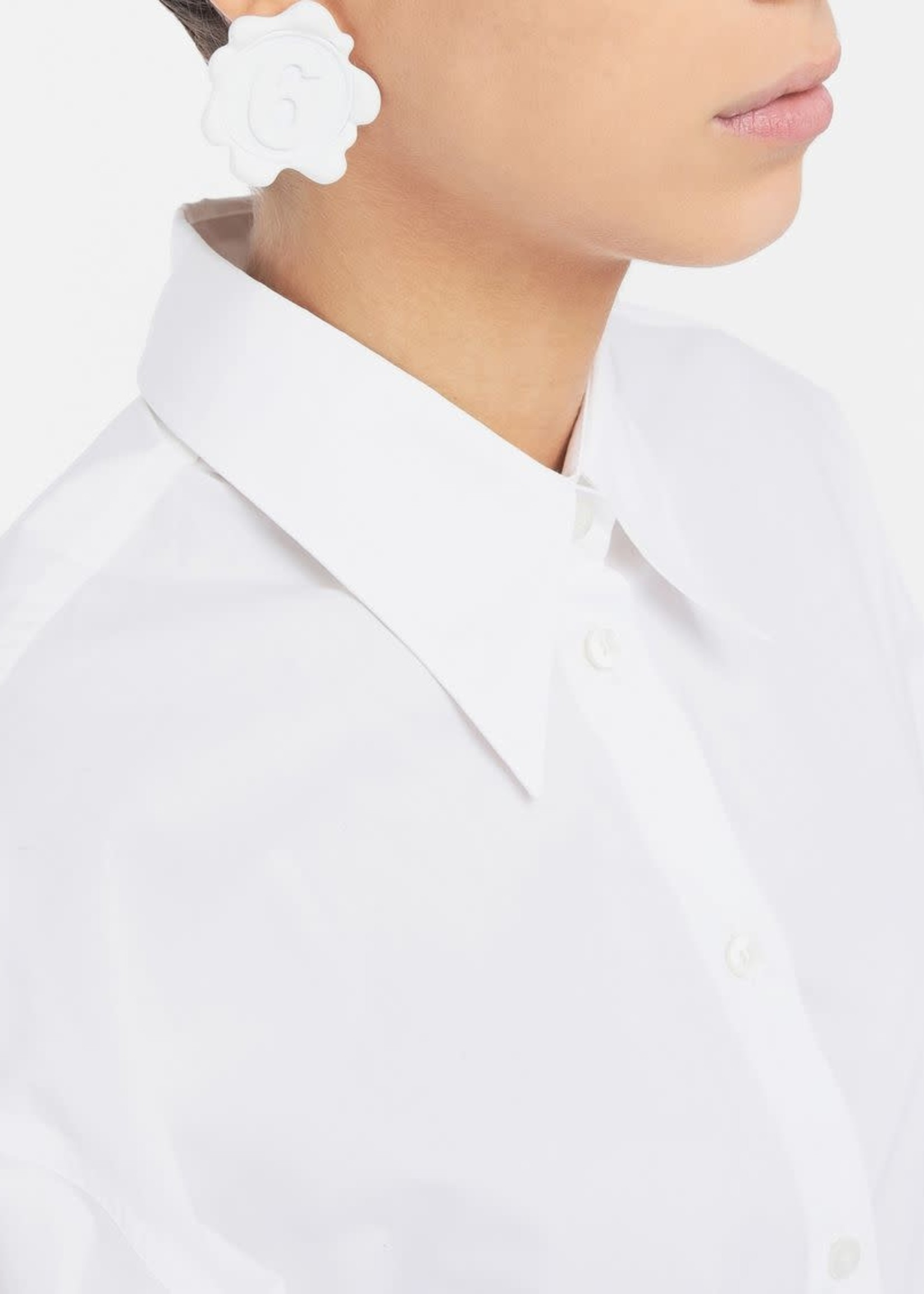 MM6 MAISON MARGIELA Logo Earrings White