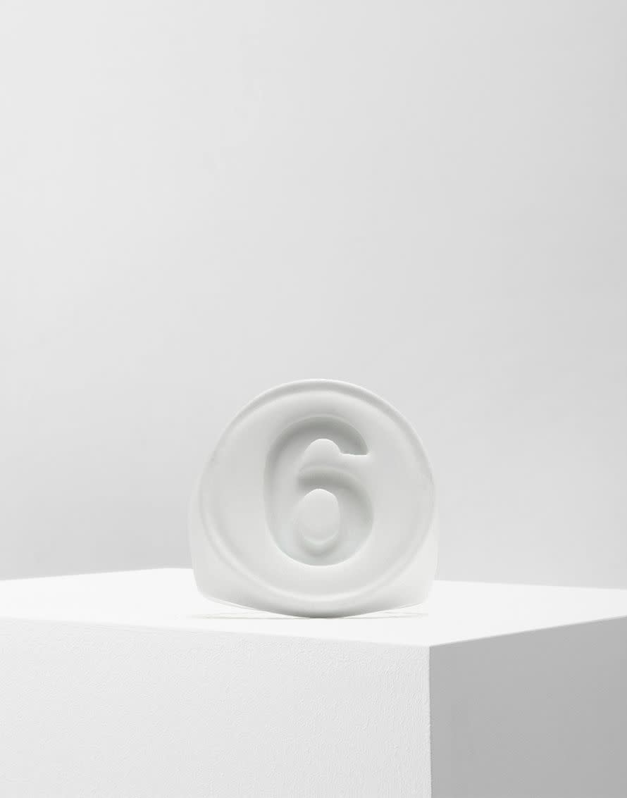 MM6 MAISON MARGIELA Matte White 6 Logo Ring