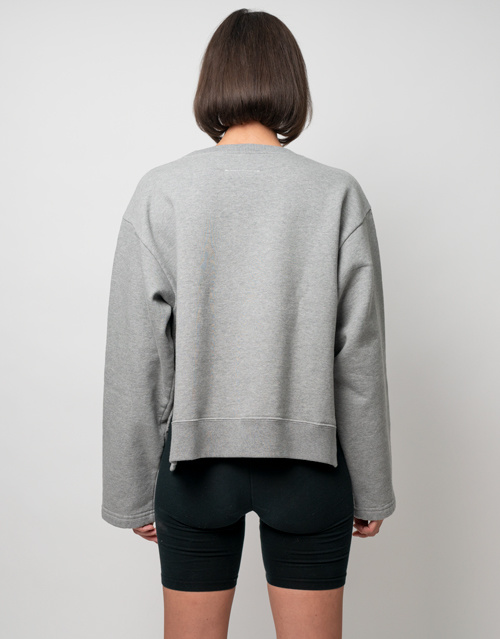 MM6 MAISON MARGIELA Backward Logo Crop Sweatshirt Heather Grey