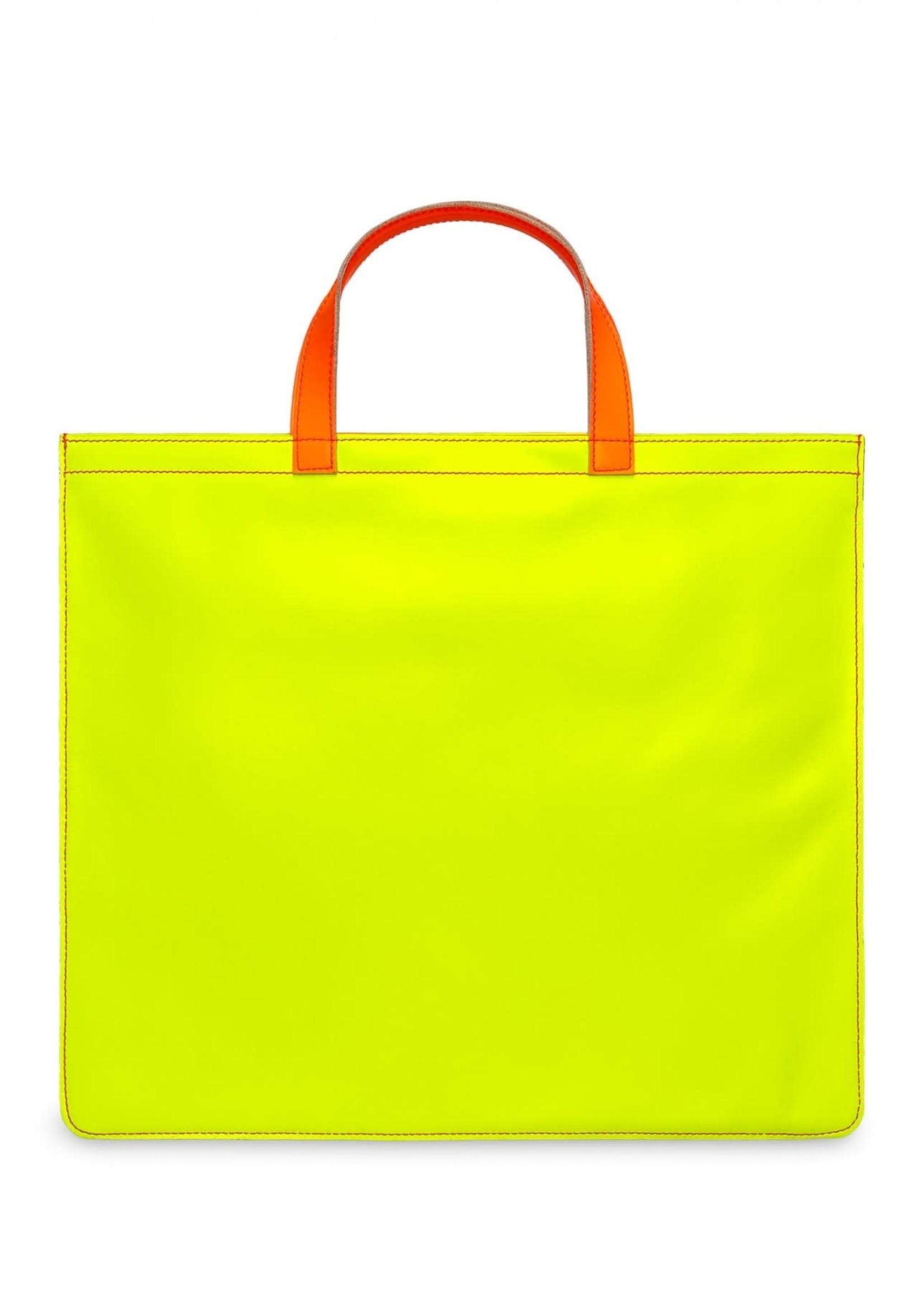 COMME des GARÇONS WALLET Comme des Garçons Super Fluo Leather Tote in Pink/Yellow