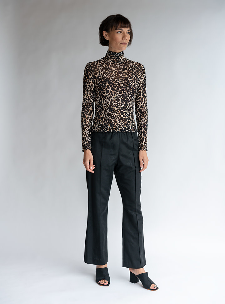 No.6 Rumi Turtleneck in Leopard Mesh